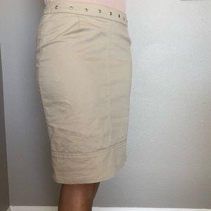Piazza Sempione Tan Color Side Zipper Pencil Skirt